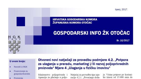 Gospodarski info ŽK Otočac 10/2017